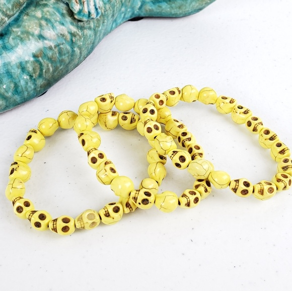 Magen's Fairytale Creations Jewelry - 3/$20Just Like Candy Yellow Stone Skull Bracelet